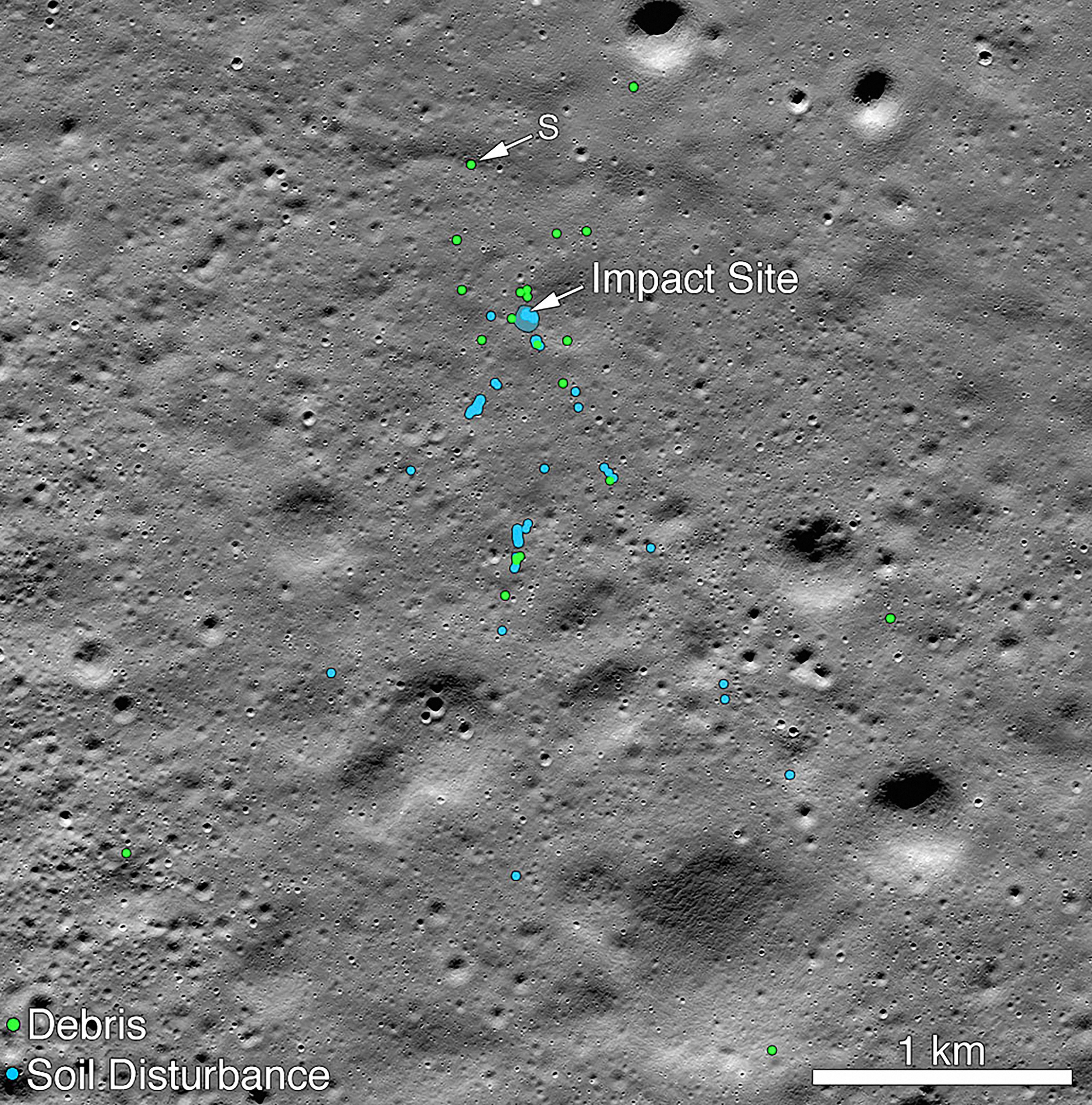An undated photo released by Nasa on Tuesday, December 3, 2019, a mosaic of the impact site of Chandrayaan 2 Vikram lander, found by Nasa's Lunar Reconnaissance Orbiter.