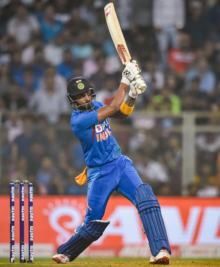 KL Rahul plays a shot during the third T20 cricket match against West Indies, at Wankhede Stadium in Mumbai, Wednesday, Dec. 11, 2019.