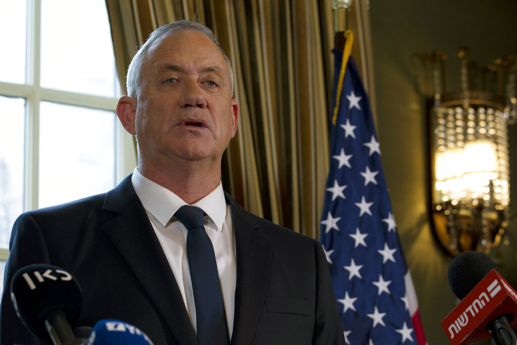 Israel Blue and White party leader Benny Gantz speaks during a news conference in Washington
