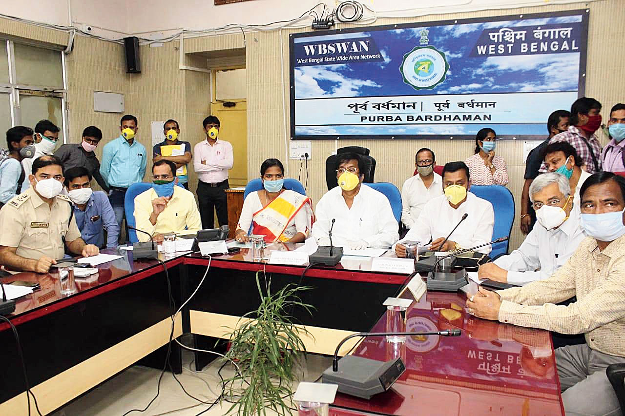 Mallick holds a meeting with senior officials in Burdwan on Thursday.
