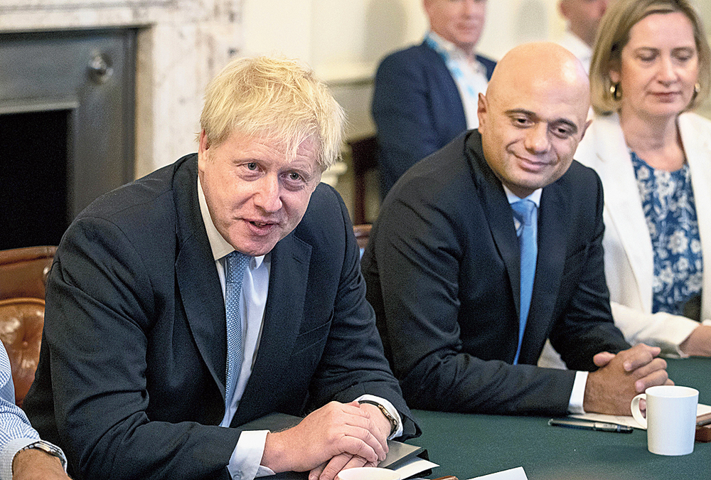 Boris Johnson (left) with Sajid Javid at Downing Street on July 25, 2019