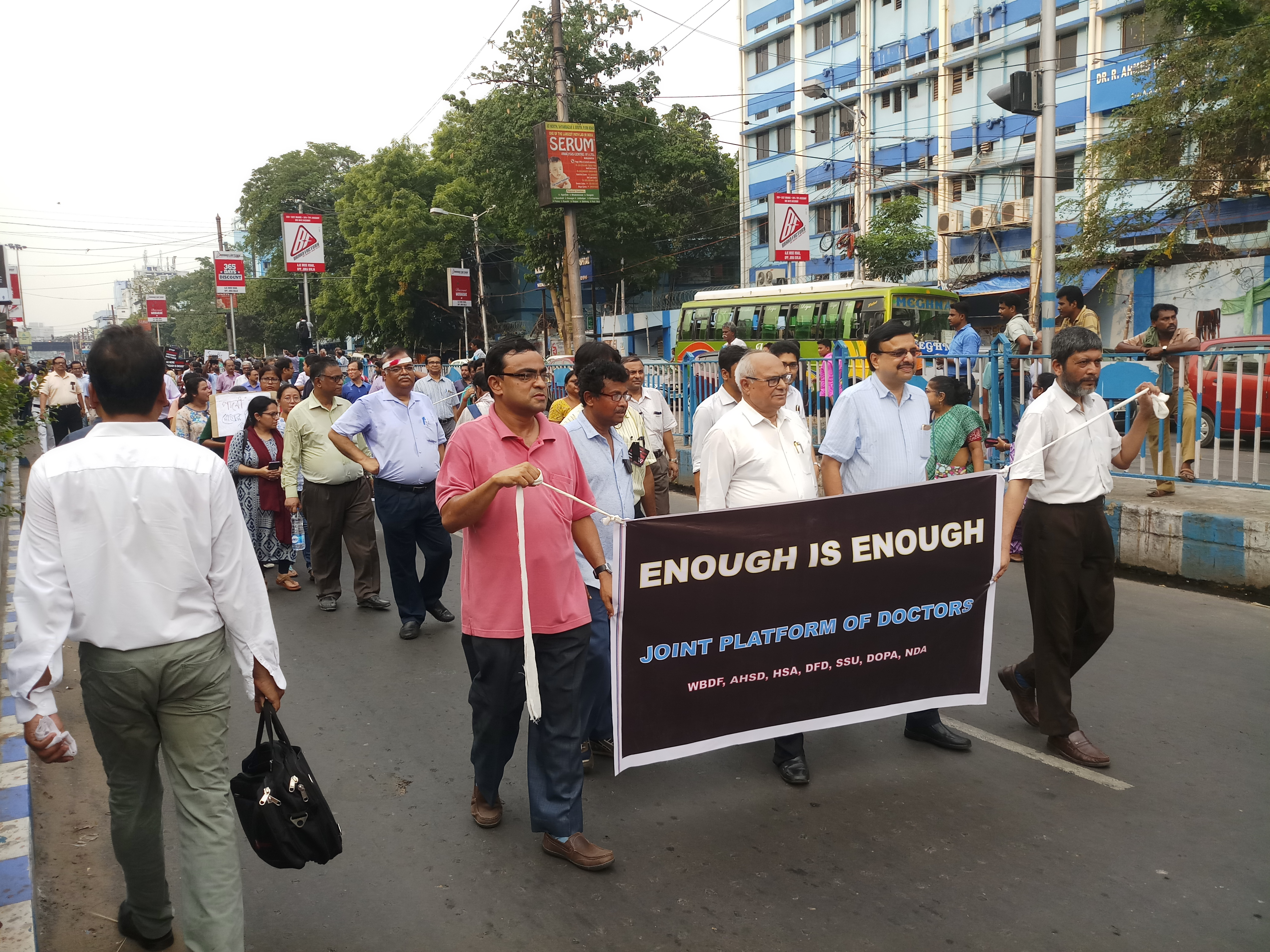 Doctors protest in Calcutta on Friday.
