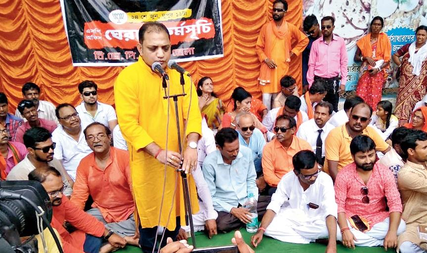 Raju Banerjee addresses a BJP protest programme in Bankura.