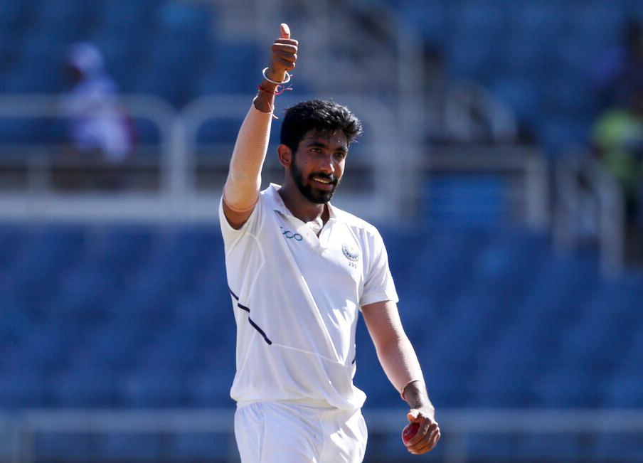 Jasprit Bumrah celebrates taking the wicket of West Indies' Kraigg Brathwaite during day two of the second Test cricket match at Sabina Park cricket ground in Kingston, Jamaica on Saturday, August 31, 2019.