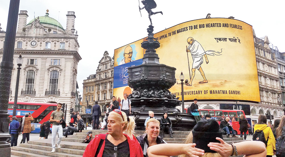 Gandhi looms on Piccadilly Circus