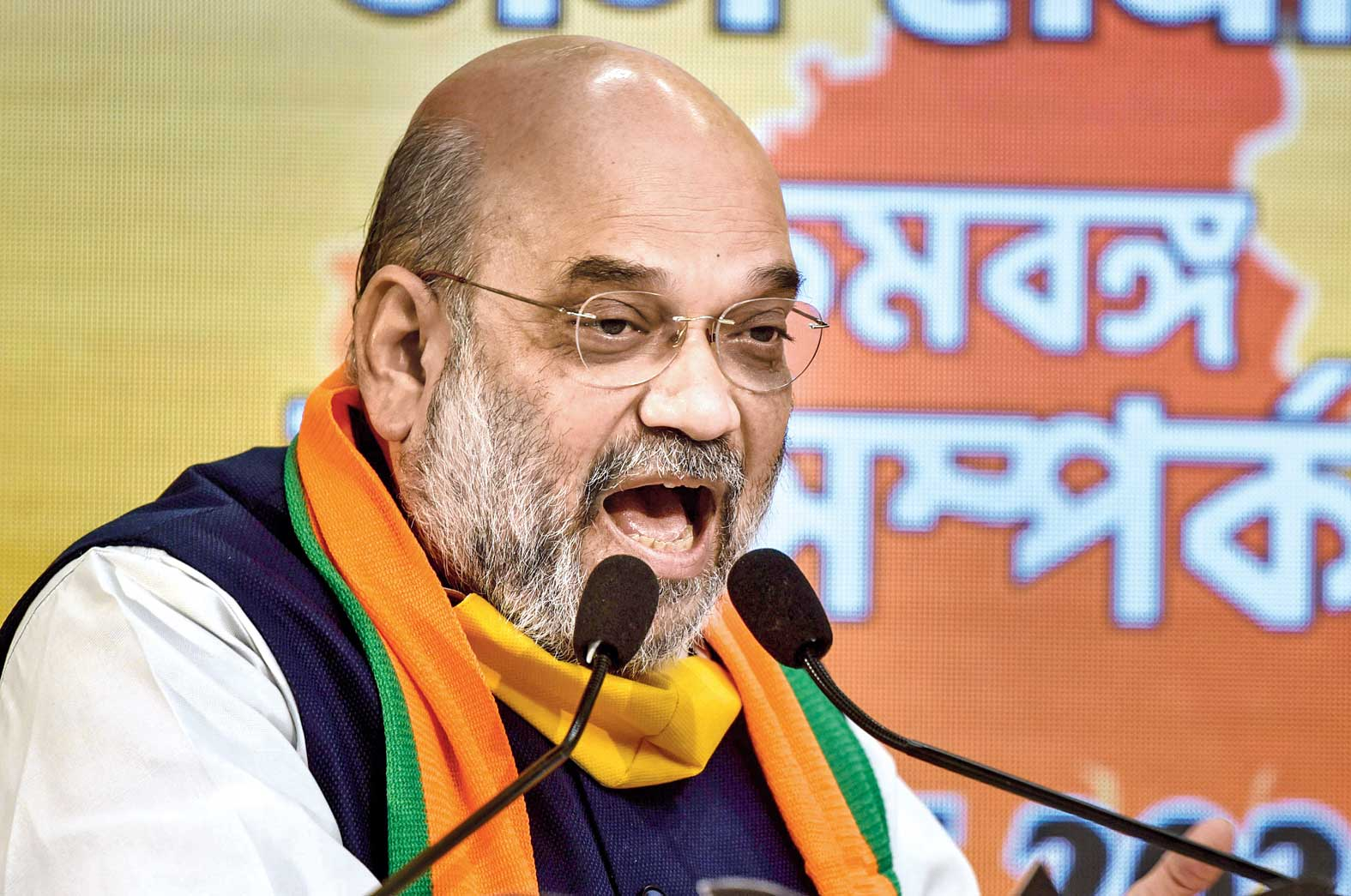 Shah addresses the virtual rally meant for Bengal from the BJP headquarters in New Delhi on Tuesday.
