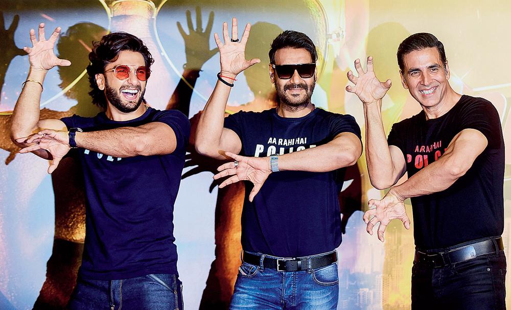 Ranveer Singh, Ajay Devgn and Akshay Kumar at the 'Sooryavanshi' trailer launch on Monday