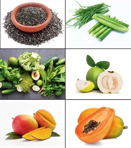 Good ways to get your dose of fibre are (clockwise from above left) mangoes, green vegetables, chia seeds, drumsticks, guavas and ripe papaya