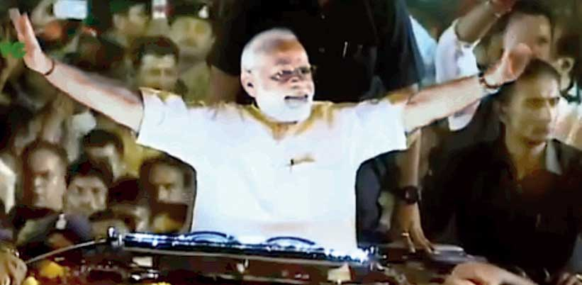 On the very same day, a few hours after tragedy struck the migrants in Uttar Pradesh, the BJP uploaded on its Twitter handle a video clip celebrating six years of the Narendra Modi government. An image (above) in the clip shows Prime Minister Modi during his victory lap after the mandate in the 2019