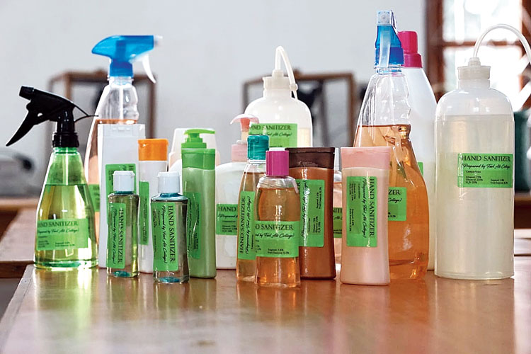 Hand sanitizers prepared by the department of botany, Fazl Ali College, Mokokchung
