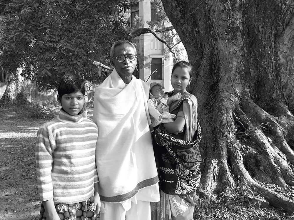 Lifeline: Professor Dilip Roy with Belaboti (left) and Uma