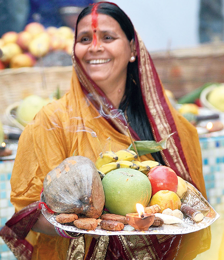 Rabri Devi observing Chhath. She is not celebrating the festival this year.