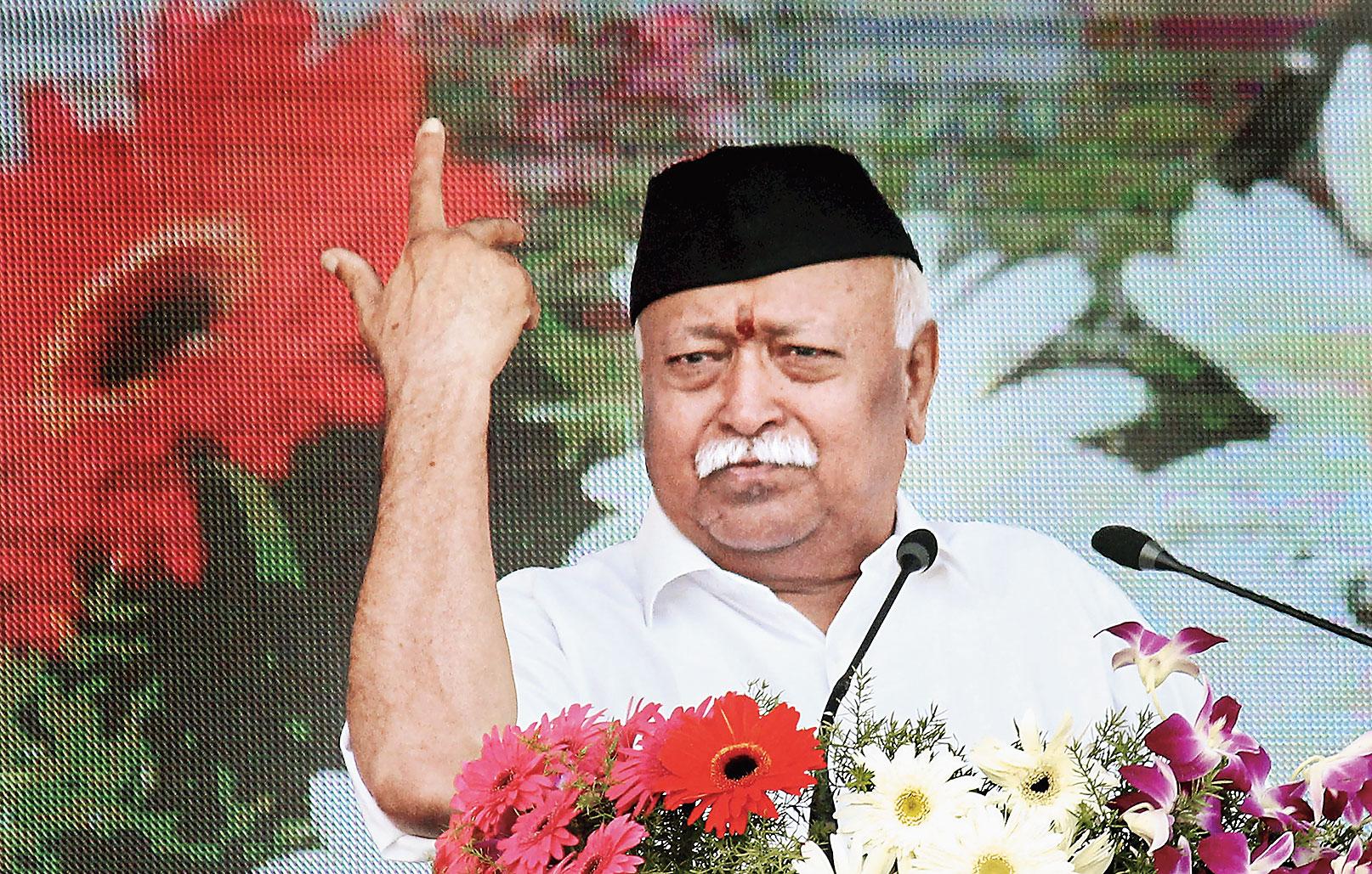 Mohan Bhagwat delivers his Vijaya Dashami address in Nagpur on Thursday.
