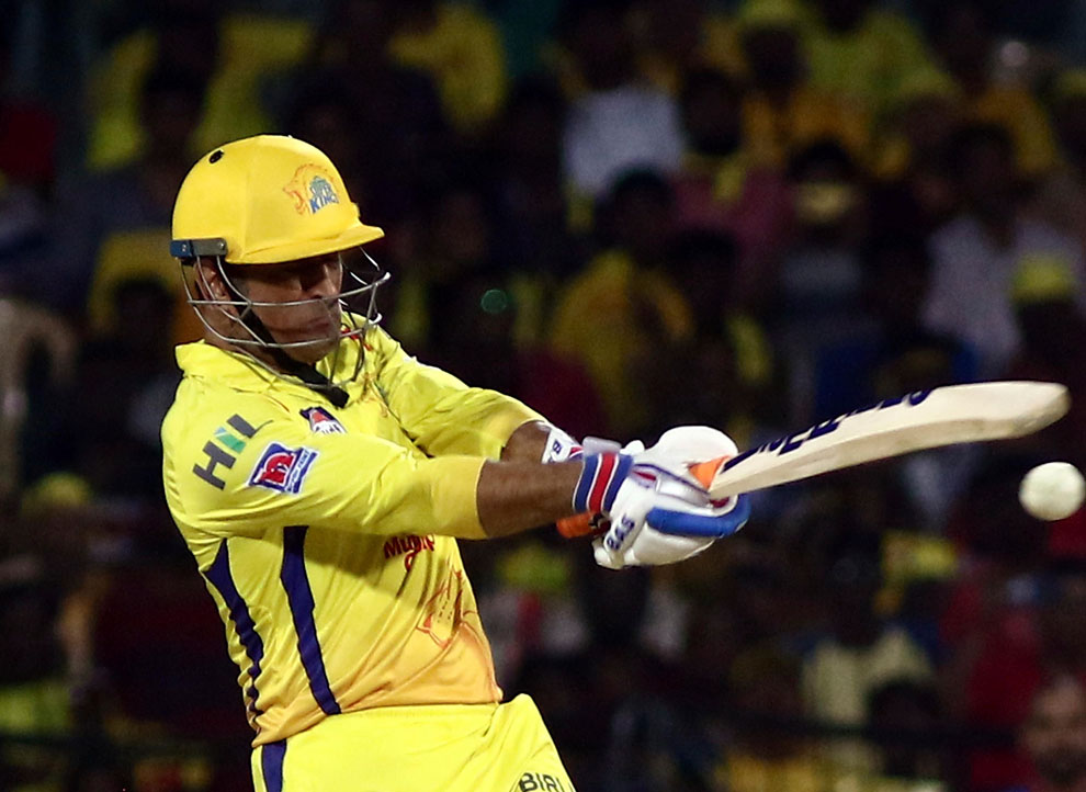 Chennai Super Kings Mahendra Singh Dhoni plays a shot during the IPL cricket match between Chennai Super Kings and Delhi Captails in Chennai on Wednesday, May 1, 2019.