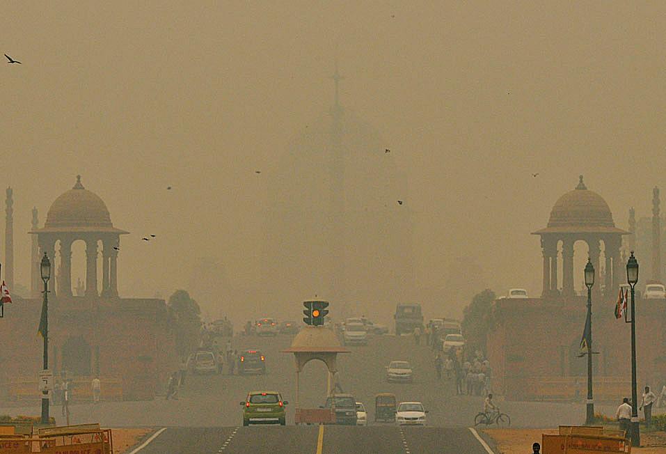 A smog blanket enveloped New Delhi.