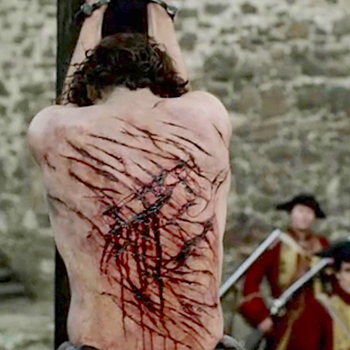 Jamie Fraser being flogged in Outlander