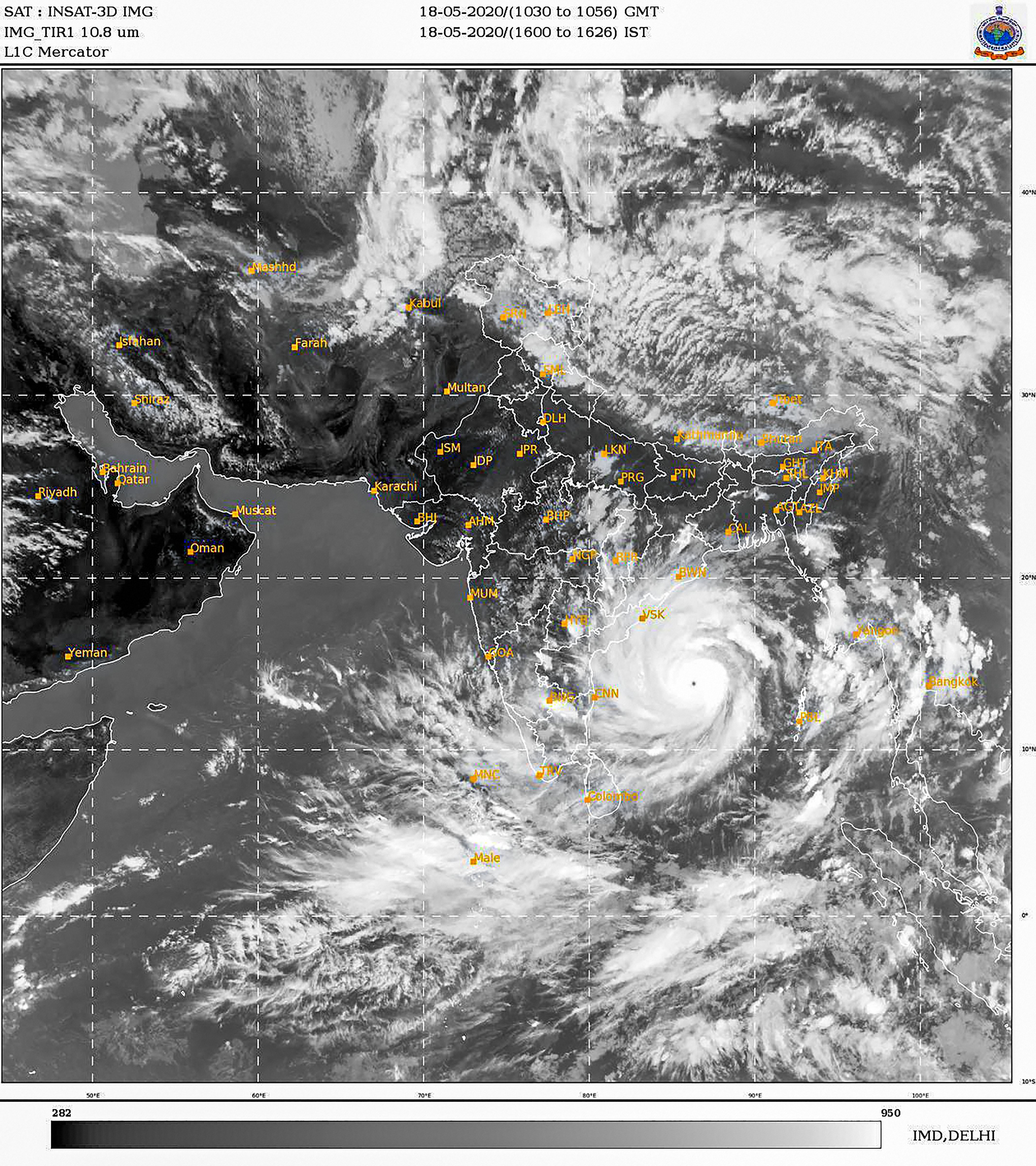 In this satellite image taken from India Meteorological Department (IMD) at 16:20 IST shows Cyclone Amphan along the costal areas of Bay of Bengal. As per IMD, Amphan intensified into extremely severe cyclonic storm and is likely to become super cyclone.