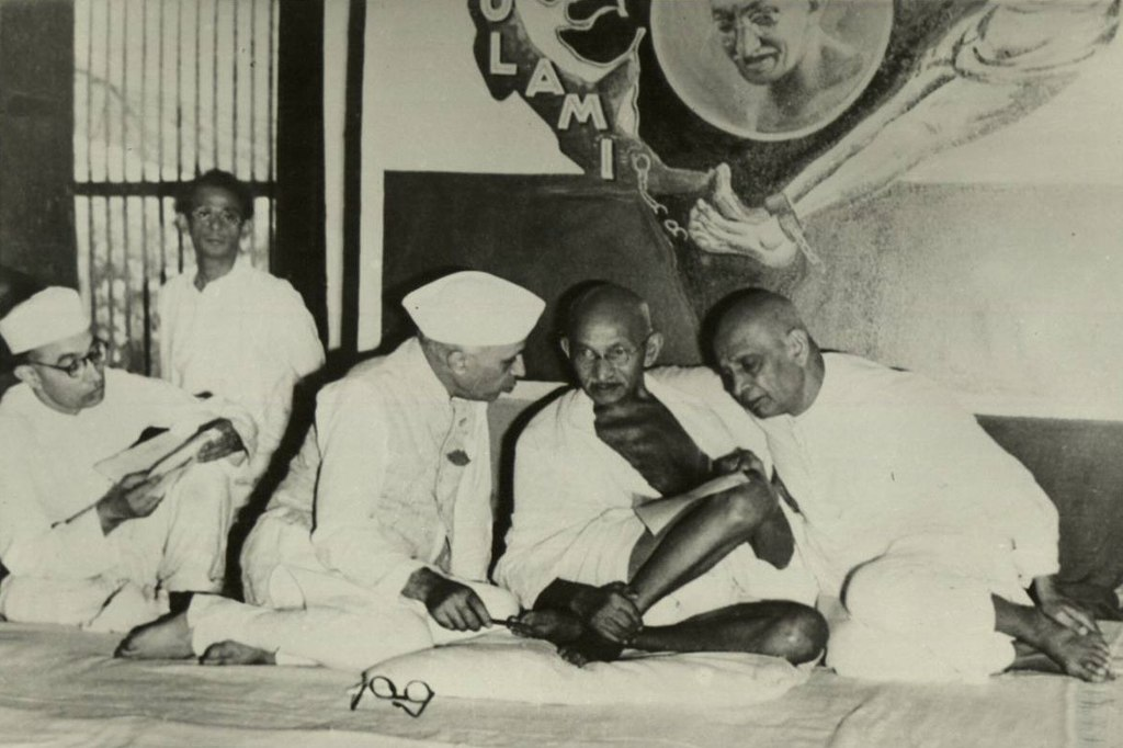 Nehru, Gandhi and Sardar Vallabhbhai Patel, All India Congress Committee meeting, Bombay, 1946