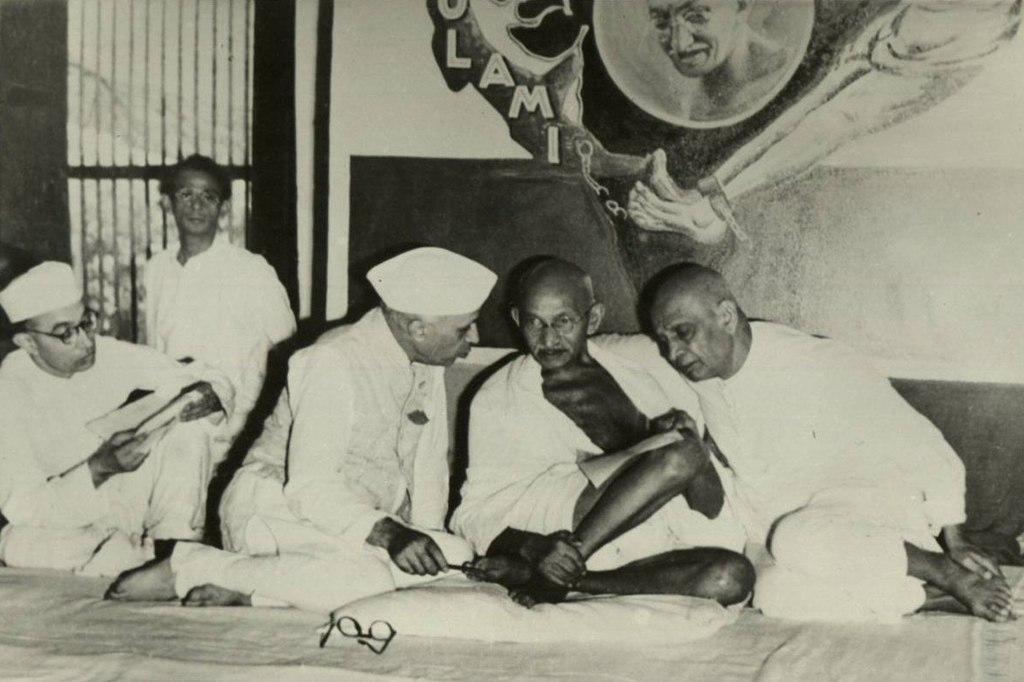Nehru, Gandhi and Sardar Vallabhbhai Patel, All India Congress Committee meeting, Bombay, 1946