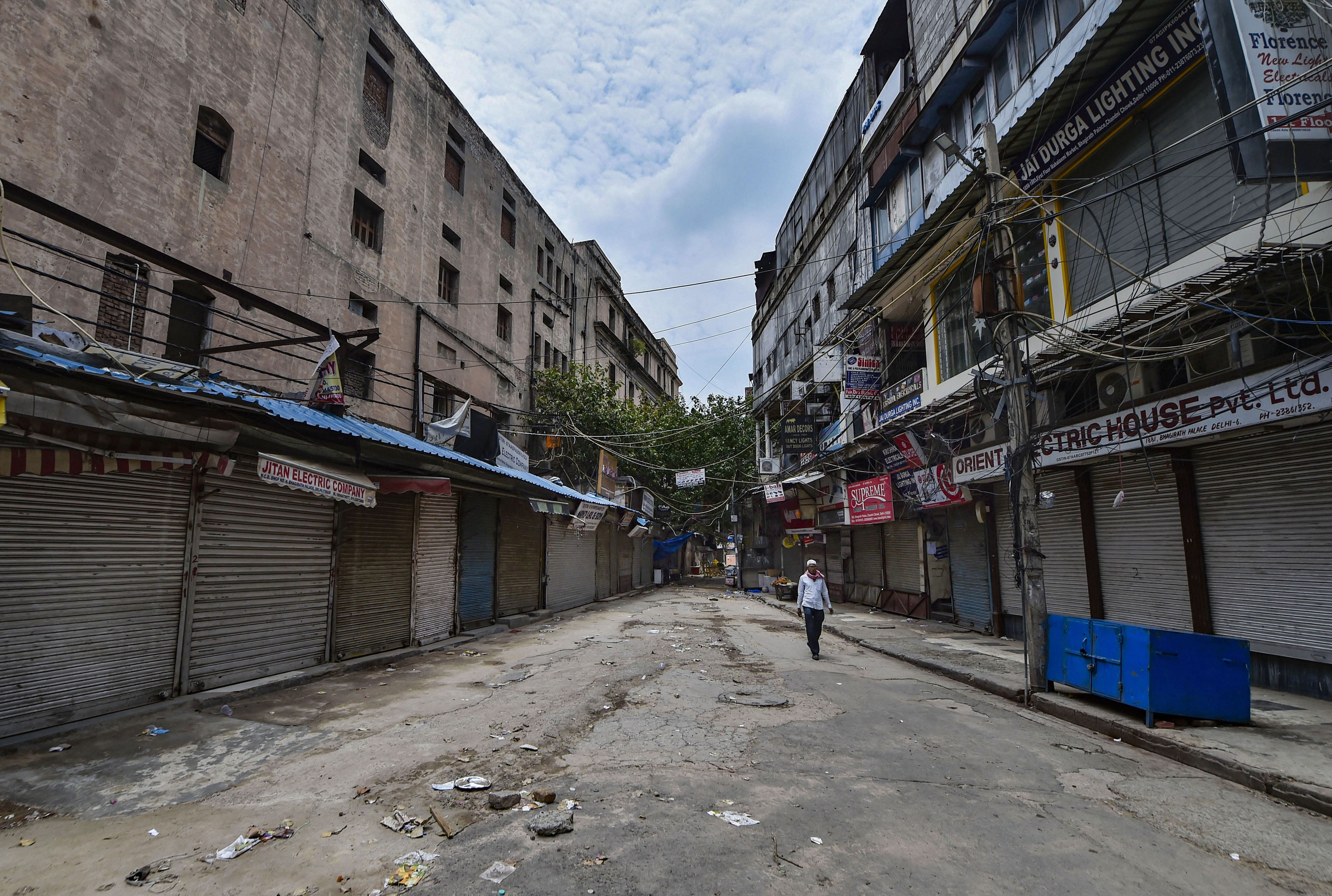 A view of deserted Bhagirath Palace market in Chandni Chowk, during ongoing Covid-19 lockdown in New Delhi, Sunday, May 31, 2020.
