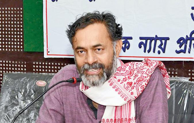 Yogendra Yadav speaks in Guwahati on Sunday.