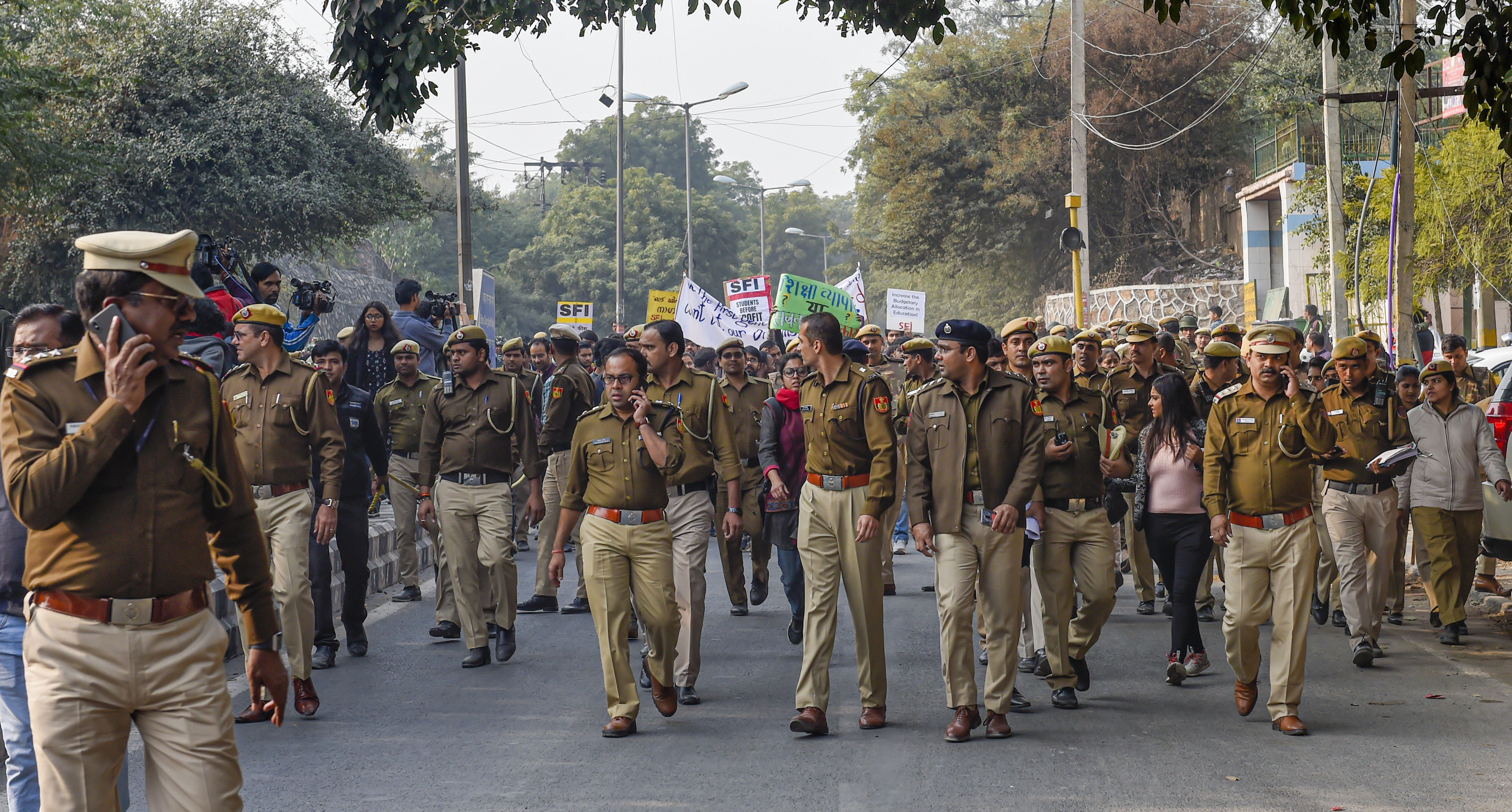 Police personnel during JNU students' march from the university campus to Rashtrapati Bhavan, in New Delhi, Monday, December 9, 2019.