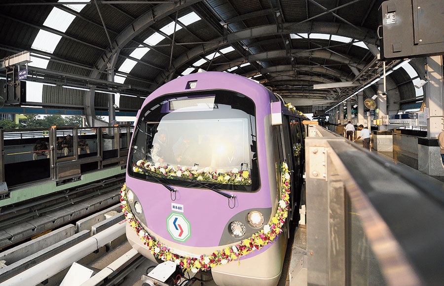 A train at the inauguration of the first phase of East-West Metro at the Sector V station on Thursday.