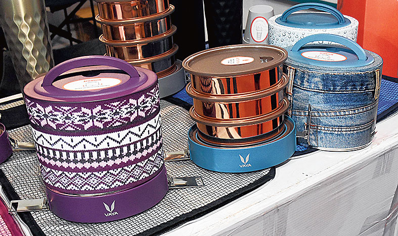 This stall sells the smartest-looking tiffin boxes with denim, woollen or cheetah-print covers