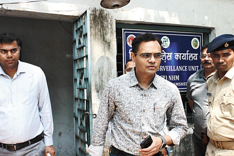 Principal health secretary Nitin Madan Kulkarni at district surveillance office in Sakchi, Jamshedpur, on Saturday.