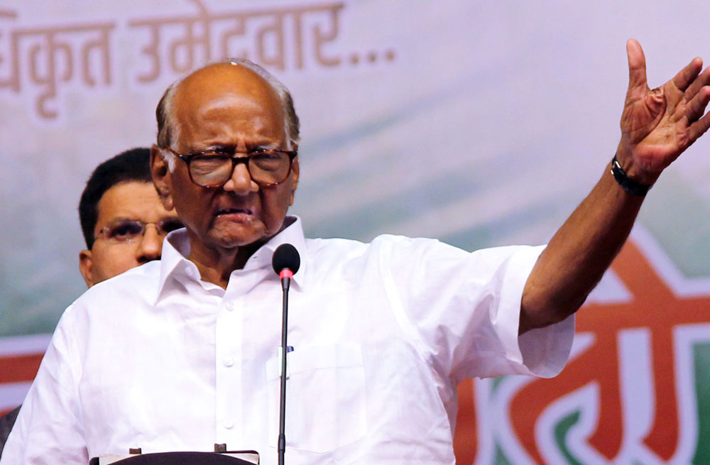 Nationalist Congress Party (NCP) President Sharad Pawar addresses an election campaign in Satara, Maharashtra on April 20, 2019.