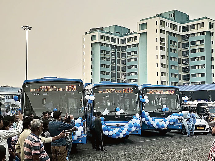 The fleet of new buses parked at the Kasba depot before being flagged off on Wednesday