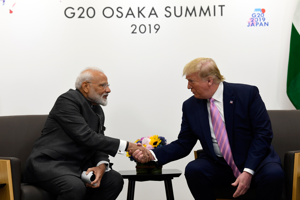 Prime Minister Narendra Modi and President Donald Trump meet on the sidelines of the G-20 summit in Osaka, Japan, on Friday. Trump spoke about a massive trade deal with India without spelling out any details