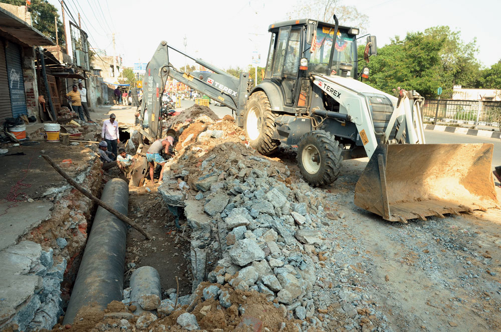 Drinking water pipeline project work in progress near Birsa Chowk in Ranchi on Wednesday.