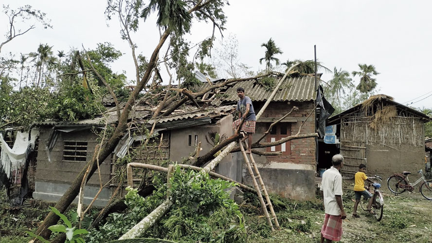 A house damaged in the storm