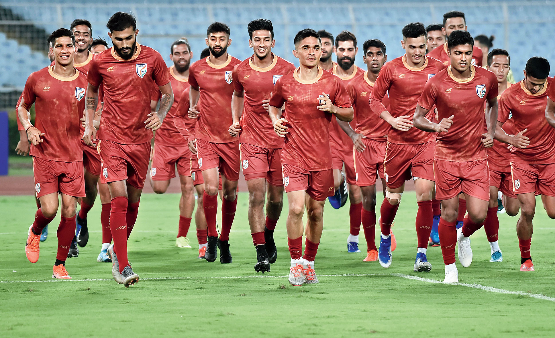 India players during a practice sesson at the Salt Lake Stadium on Monday.