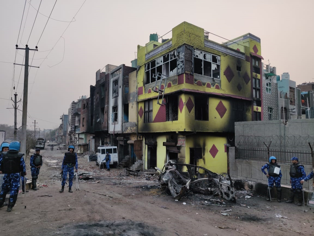 The homes of Muslim families that were gutted in New Delhi's Shiv Vihar
