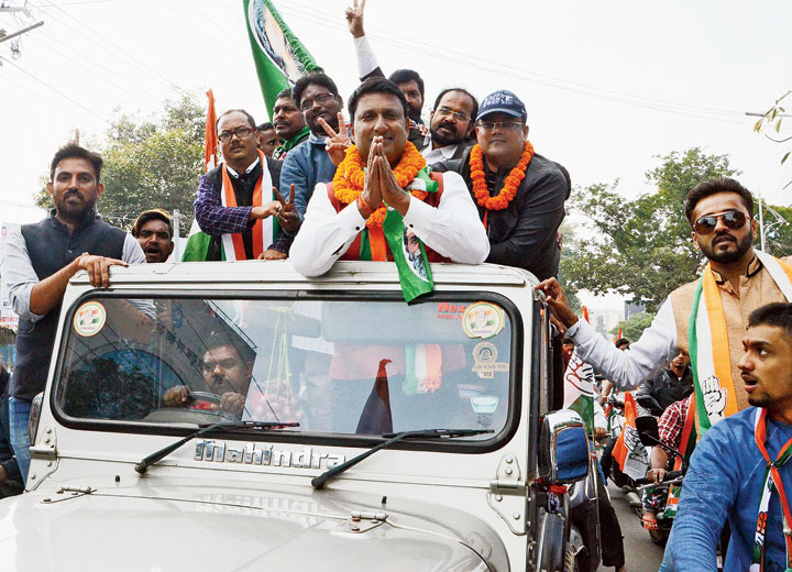 Congress candidate from Hatia Ajay Nath Sahdeo campaigns in Ratu area, Ranchi