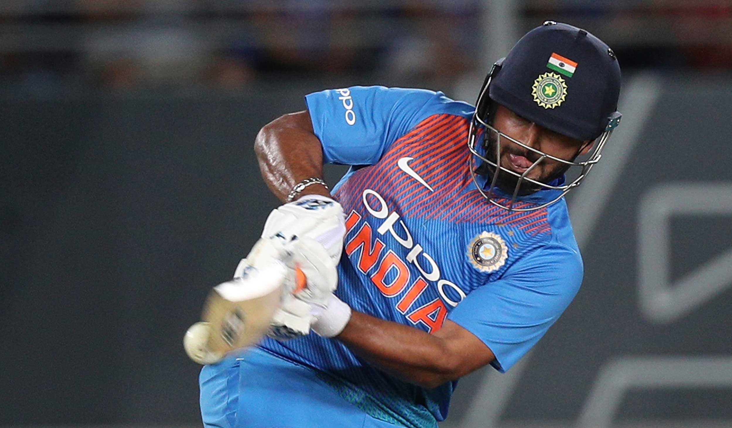 Rishabh Pant bats during the T20 match against New Zealand at Eden Park in Auckland, New Zealand, on February 8.