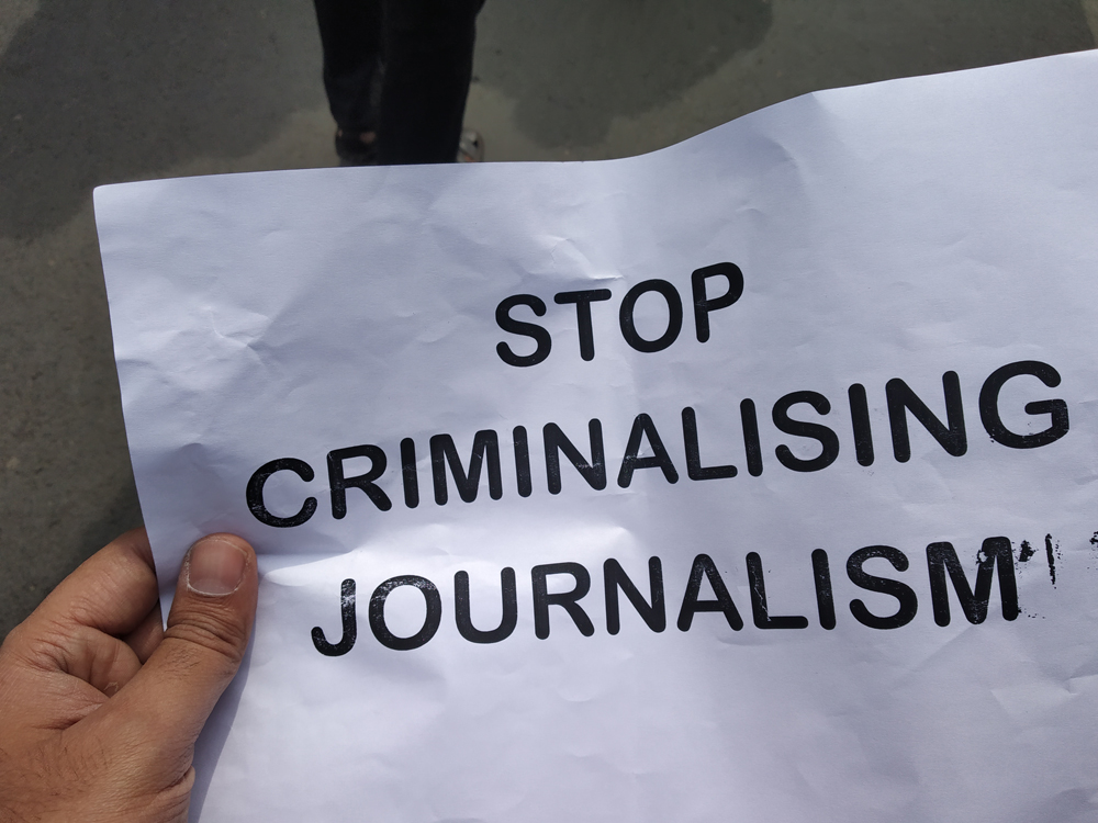 A placard carried by a journalist during the protest jointly organised by 11 journalist bodies