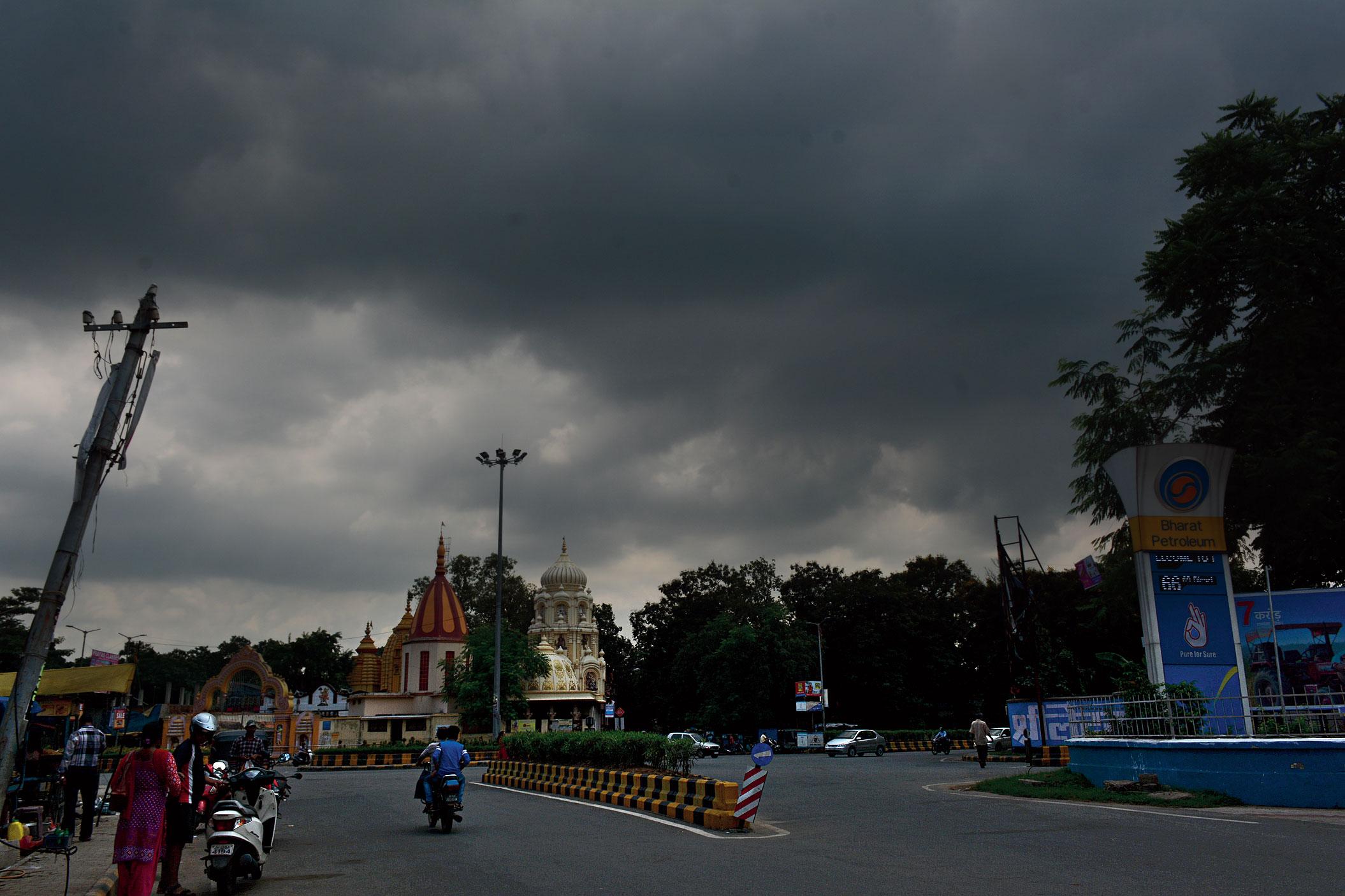 Dark clouds over Kadma in Jamshedpur on Sunday.
