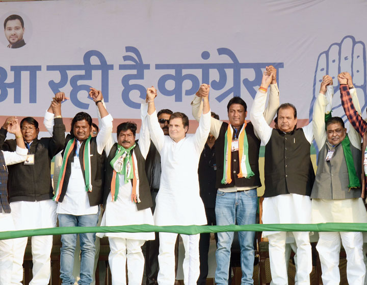 Rahul Gandhi with Congress candidates at the BIT ground in Mesra, Ranchi, on Monday