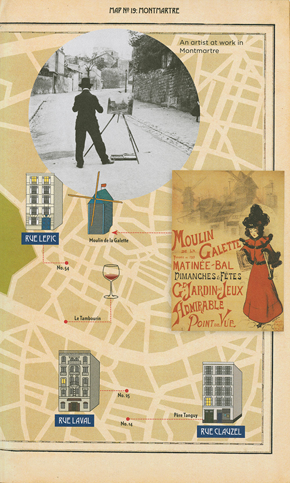 An illustrated map of Vincent van Gogh's time in Montmarte, Paris