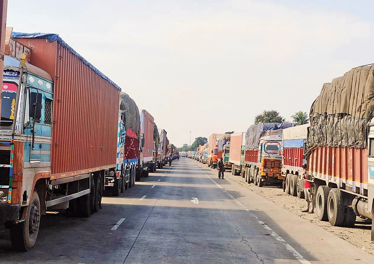 Trucks stranded on NH31C near Barobisha — on the Assam border — in Alipurduar district on Friday.