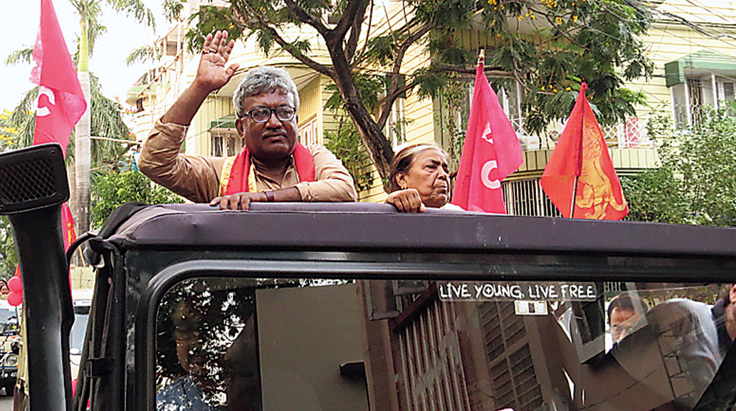 Haripada Biswas holds a road show in Salt Lake.