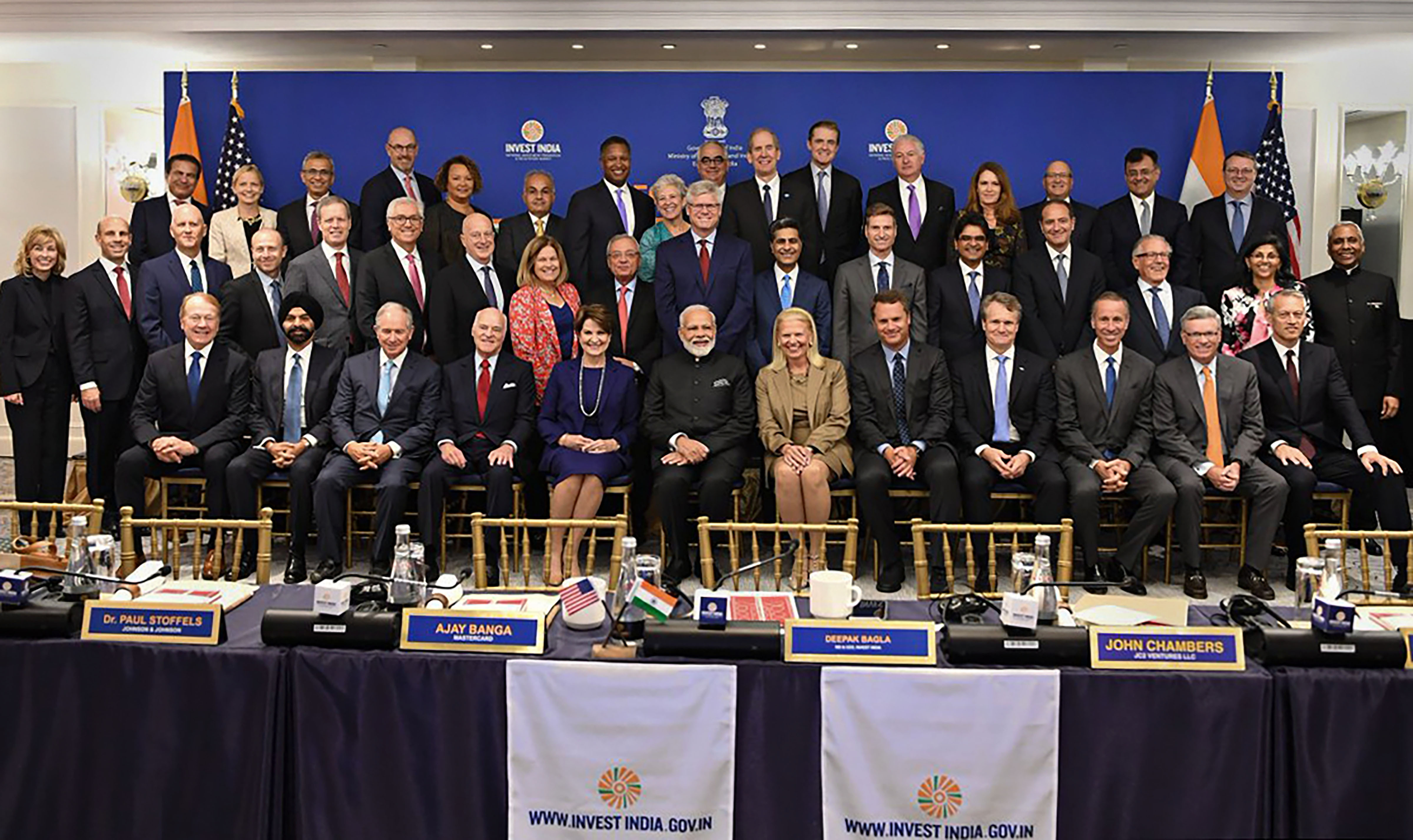 Narendra Modi in a group photo with CEOs during a roundtable meeting in New York on Wednesday