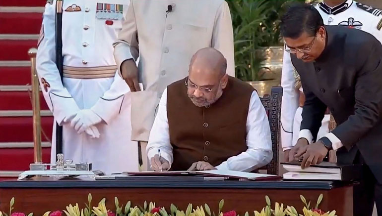 Amit Shah after taking his oath at Rashtrapati Bhavan in New Delhi, on Thursday, May 30, 2019.