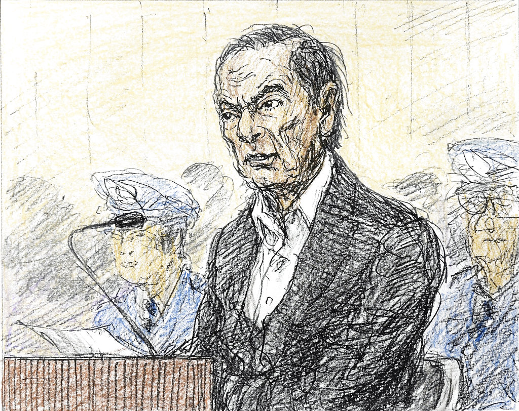 A courtroom sketch depicts former Nissan chairman Carlos Ghosn at the Tokyo District Court on Tuesday.