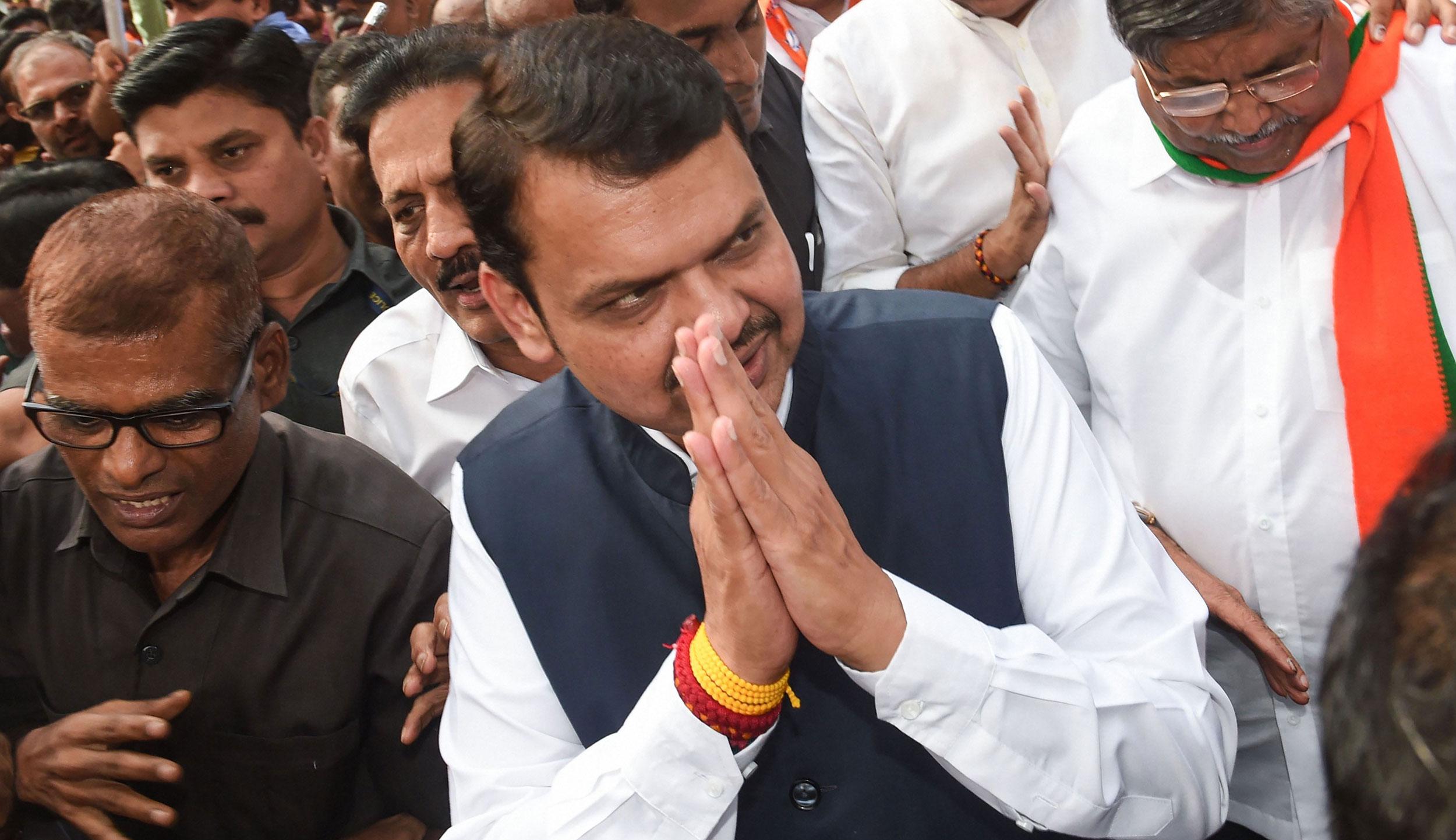 Devendra Fadnavis arrives at the Maharashtra BJP office, in Mumbai, on Saturday.