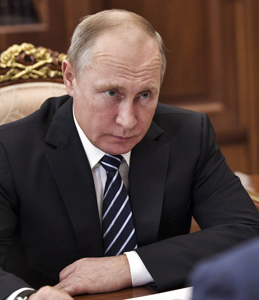 Putin at a meeting in Moscow on Monday.