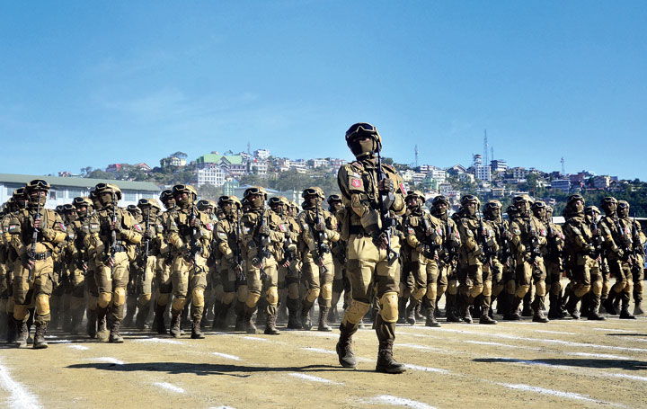 A team of Nagaland special task force marches during the Nagaland Statehood Day function in Kohima on Sunday.